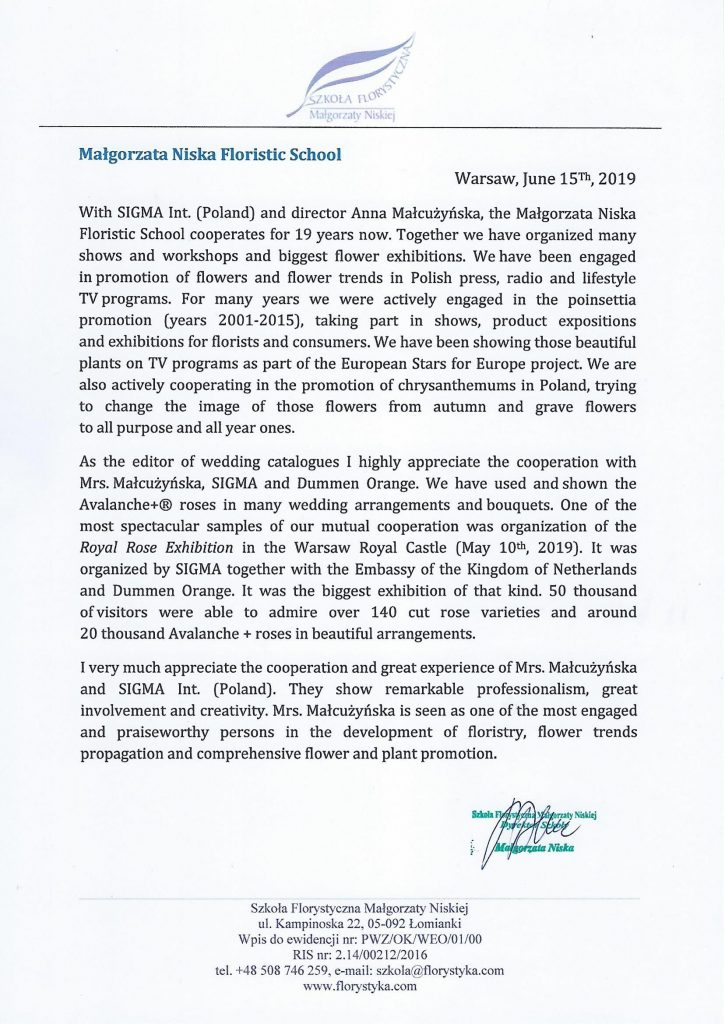 Małgorzata Niska floristic school references SIGMA International (Poland)