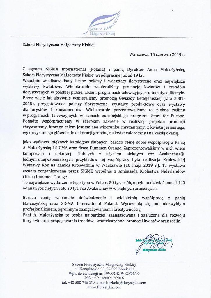 Szkoła florystyczna Małgorzaty Niskiej referencje SIGMA International (Poland)